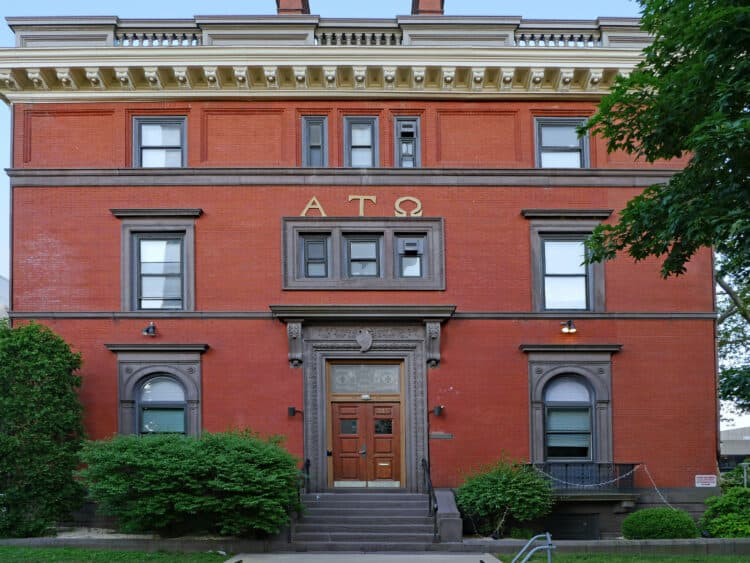 PHILADELPHIA - MAY 2019:  An old fraternity house with Greek letters on the campus of the University of Pennsylvania