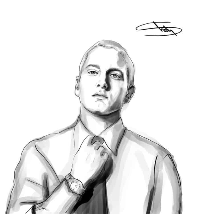 November 20, 2018 Caricature of Eminem Musician Artist Portrait Drawing Illustration